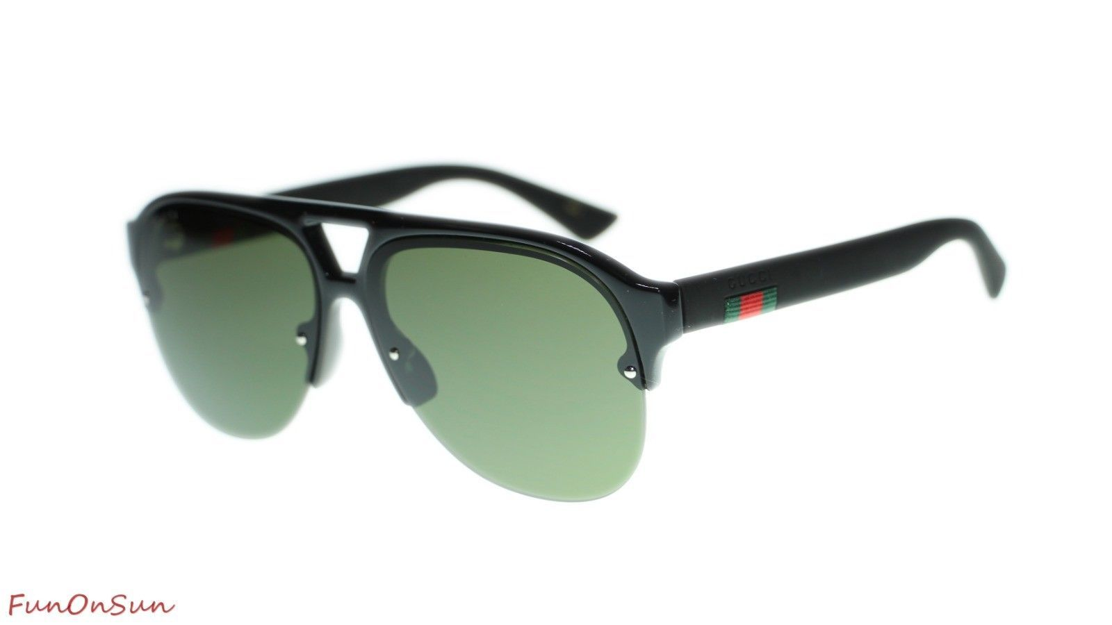 1fa9db3ca78 10. 10. Previous. NEW Gucci Men Sunglasses GG0170S 001 Black Green Lens  Pilot 59mm Authentic