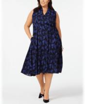 Anne Klein Dress Blue Black Delphine Sz 1X Plus NEW NWT 220 - $38.70