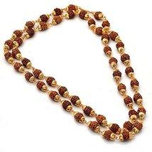 Ankita Gemstones Gold Pated Cap Rudraksha Mala 54+1 Beads Rudraksh Mala - $38.00