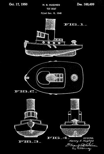 Primary image for 1950 - Toy Boat - Ship - Nautical - H. S. Hughes - Patent Art Poster