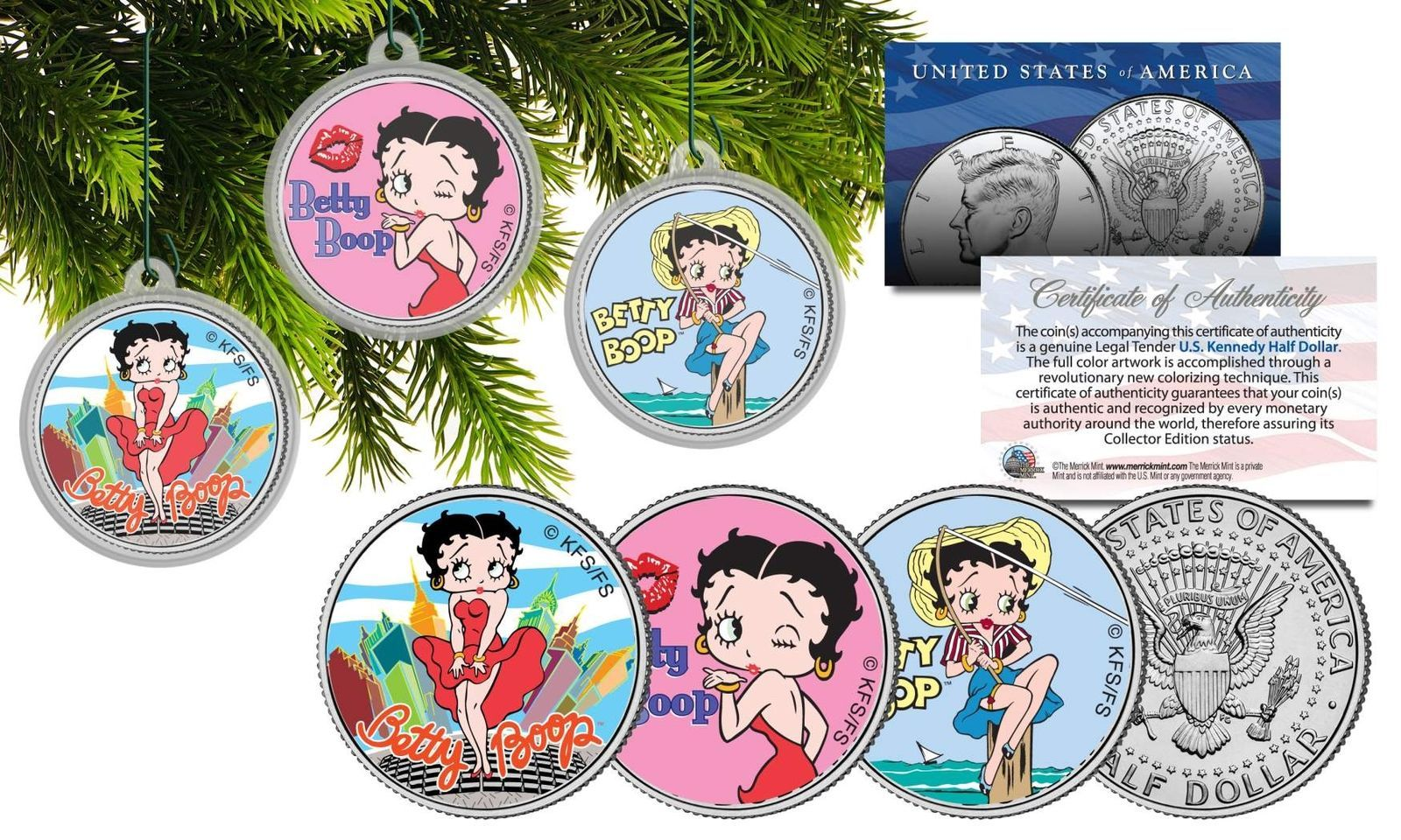 BETTY BOOP Colorized 2001 American Silver Eagle Dollar Coin OFFICIALLY LICENSED