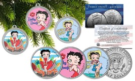 BETTY BOOP CHRISTMAS Colorized JFK Half Dollar U.S. 3-Coin Set Tree Orna... - $16.78
