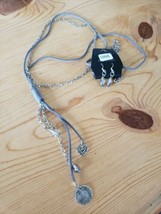 1055 Silver W/ Gray Cord Necklace Set (New) - $8.58