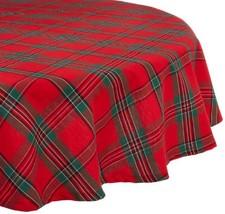 """Holiday Plaid Round Tablecloth, 100% (70"""" Roundl Tablecloth