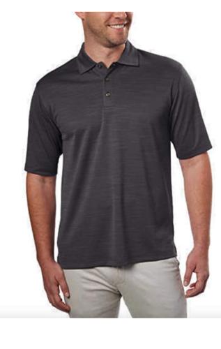 NEW Kirkland Men's Charcoal Gray Heather Performance Polo Shirts Medium NWT