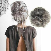 Natural Color Curly Messy Bun Hair Piece Scrunchie Hair Extension image 4