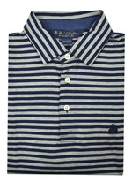 Brooks Brothers Navy Blue Gray Striped Original Fit Polo Shirt Sz Large ... - $50.48