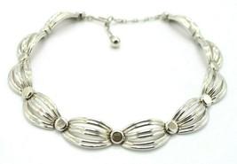 Crown Trifari Modernist Openwork Choker Necklace Silver Tone - $34.64