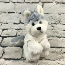 Webkinz Ganz Huskey Dog Plush Gray White Wearing Peace T-Shirt Stuffed A... - $9.89