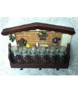 Vintage, Made in Japan, 6pc Glass Spice Jars with Figural Wooden Rack - £24.48 GBP