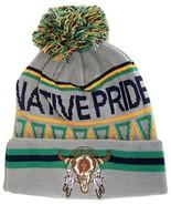 Native Pride Skull Cuffed Knit Winter Hat Pom Beanie (Light Gray) - $12.95