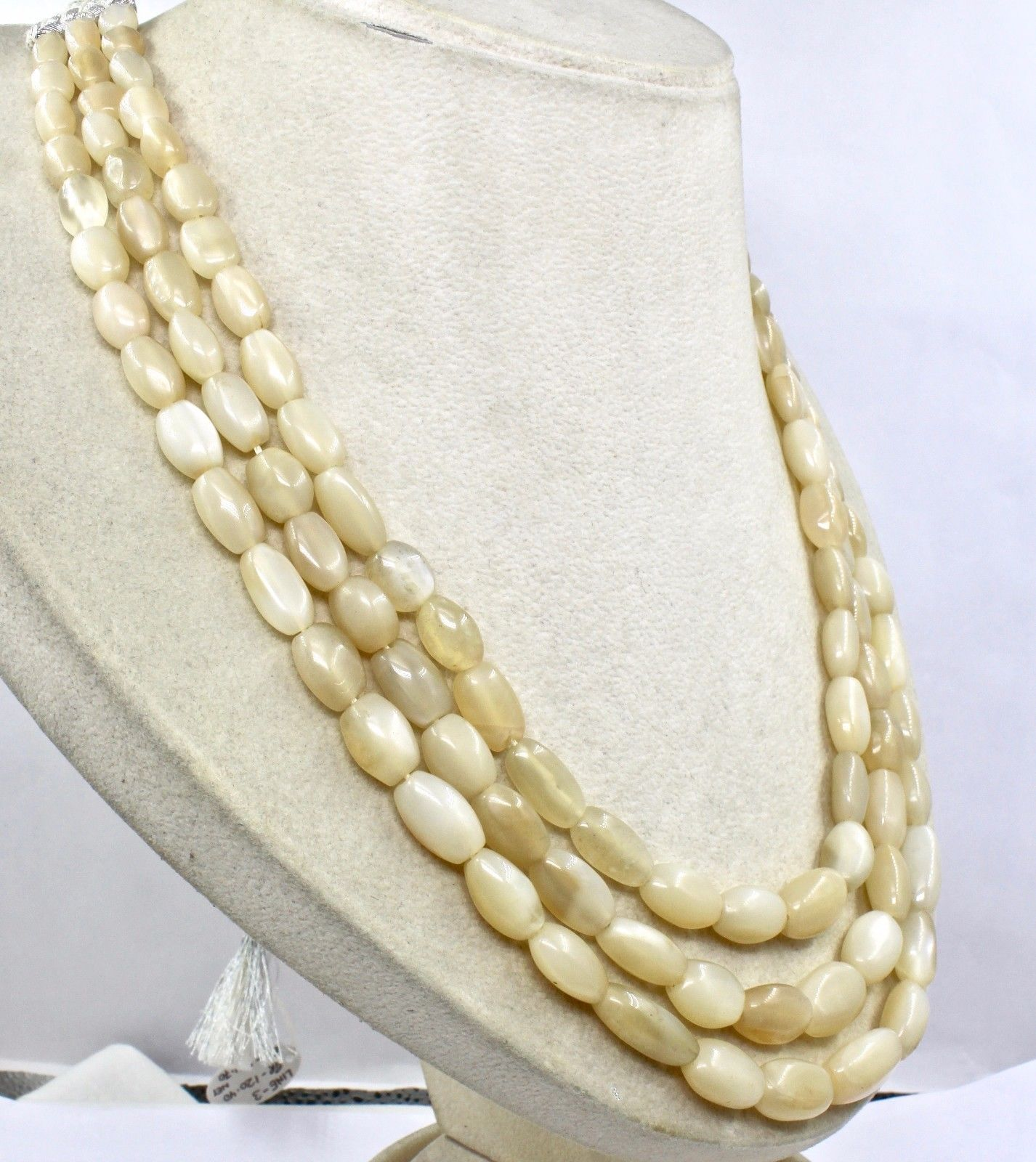 3 LINE 602 CTS MOONSTONE LONG CABOCHON BEADS STRING NECKLACE FOR LADIES