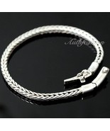 Mens Sterling Silver Bracelet Handcrafted Solid Woven Wheat Chain Hip Ho... - $147.91