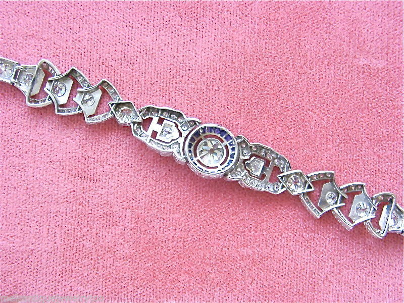 ANTIQUE ART DECO 3.7ctw DIAMOND SAPPHIRE HALO PLATINUM COCKTAIL BRACELET 1930