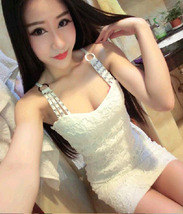 PF271 sexy low bust halter dress with rhinestones , Size S-L, white - $22.80