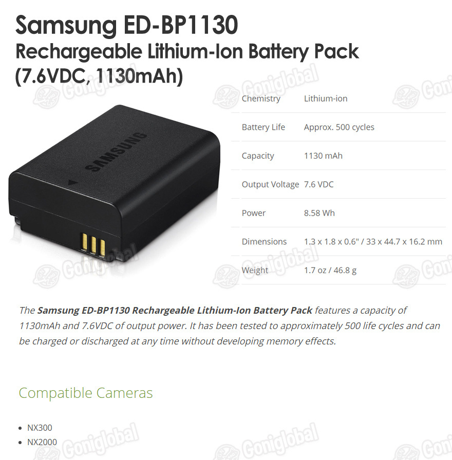SAMSUNG SAMSUNG BP-1130 / ED-BP1130 Battery / 7.6V / 1130mAh / NX300 Battery / N