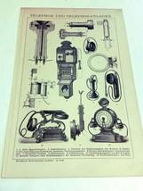 1903 Steel Plate Lithograph Telephon und Telephonanlagen German - $21.78