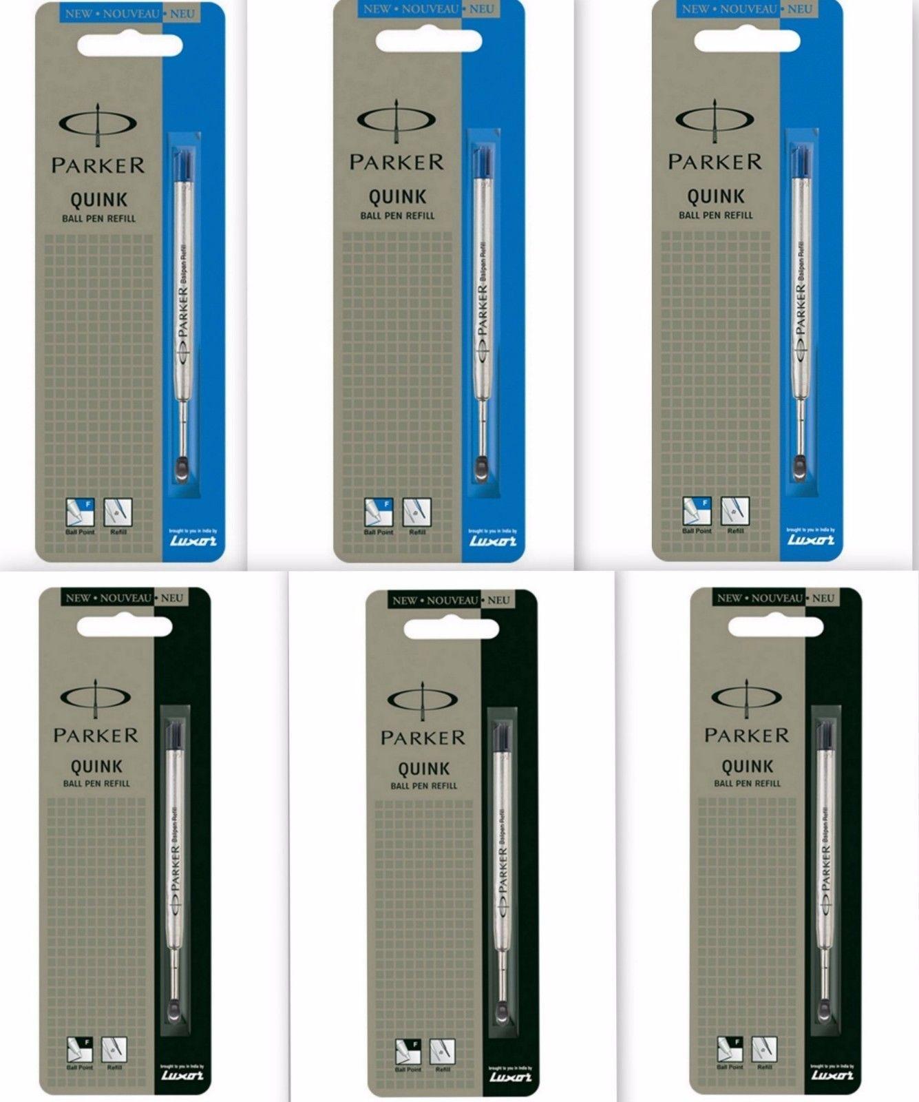 6 x Parker Quink Flow BallPoint Pen BallPen Refills Fine 3 Blue + 3 Black New