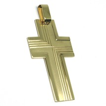 SOLID 18K YELLOW GOLD BIG 42mm FLAT CROSS, WORKED SATIN & SMOOTH MADE IN ITALY image 2