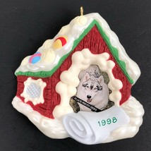 Vintage 90s Hallmark Keepsake Dog Photo Holder Christmas Ornament 1998  - $25.65