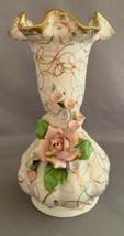 Lefton China Ceramic Pink Rose And Gold Gilt Vase #70443 - $4.00