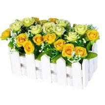 George Jimmy Artificial Flowers Arrangement Room Components Wood Fence Floral De - $40.36