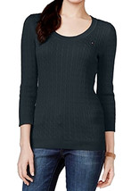 4574-2 TOMMY HILFIGER Navy Striped Scoop Neck 3/4 Sleeve Sweater S/P $59.50 - $32.66