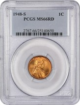 1948-S 1c PCGS MS66 RD - Lincoln Cent - $29.10