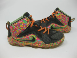 Nike LeBron XII Black Fruity Pebble Sneakers 685185-008 1Y - BEAT UP - $23.75