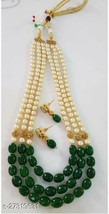 Bollywood Indian Golden Kundan Green Pearl Fashion Layer Necklace Earring Set - $16.26