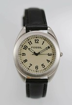 Fossil Watch Mens Beige Stainless Steel Silver Battery Leather Black 30m Quartz - $35.13