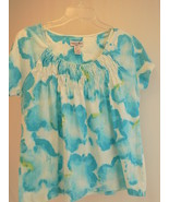 WOMEN'S Short Sleeve BLOUSE CARIBBEAN JOE PETITE Large Peasant top Blue ... - $9.89