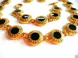 SET of Vintage 1980s 90s Goldtone & Black Enamel NECKLACE BRACELET & EAR... - $75.00
