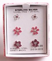 3 Paar Mädchen Sterlingsilber 925 Rosa Klarer Kristall Blume Post Ohrstecker image 1