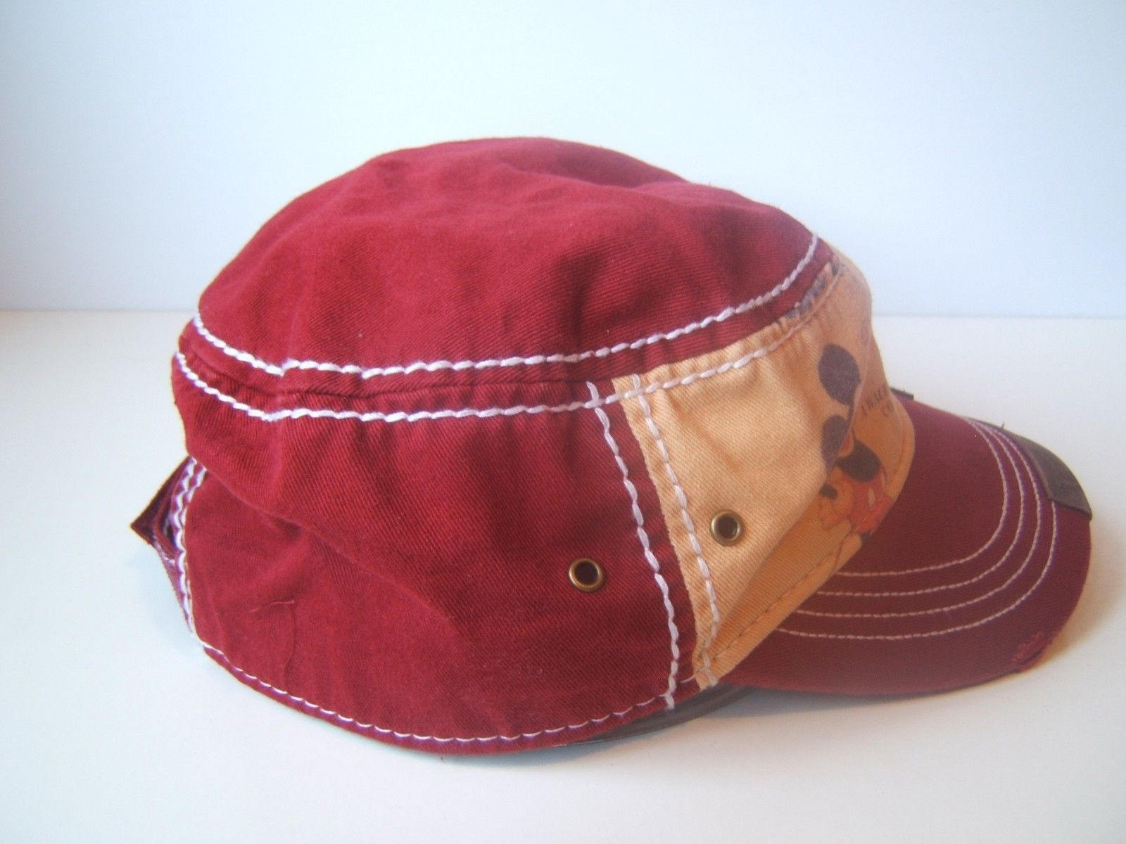 c49e88dcf3909 Burgundy Mickey Mouse Army Hat Disney Parks Authentic Graphic Edge Cap w   Tag