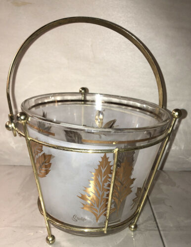 Primary image for Vintage Retro Mid Century modern Starlyte Glass Ice Bucket w/metal carrier