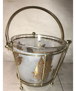 Vintage Retro Mid Century modern Starlyte Glass Ice Bucket w/metal carrier - $24.75
