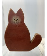 Rustic Hand Painted Wooden Red Rust Cat Farmhouse kitty country kitten - $7.92