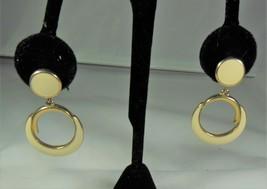 Trifari Gold Tone & Ivory Enamel Dangle Earrings - $7.92