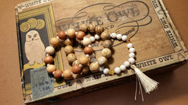 Picture Jasper, Dendritic Opal, White Stone and Wood Bead Bracelet Set/E... - $48.00
