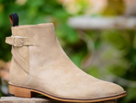 Handmade Men's Beige Suede High Ankle Monk Strap Boots image 2