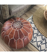 SALE*** STUFFED Moroccan Leather pouf ottoman with top embroidery in Dar... - $149.00