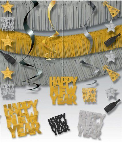 New 21 Pc Giant Room Decorating Kit Happy New Years Eve Party Silver Gold Amscan