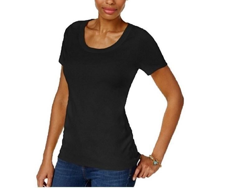 Primary image for Charter Club Black Perfectly Soft Cotton Short Sleeve T-Shirt Top Women's Size S