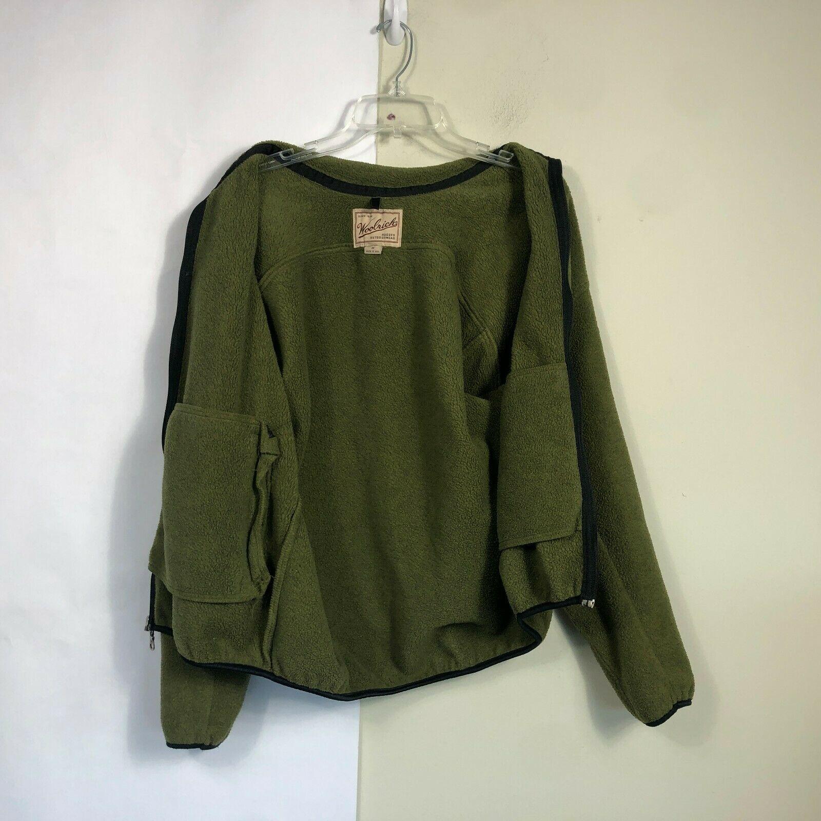 WoolRich Fleece Jacket Men's Medium Olive Green Full Zip Thick Fleece image 6