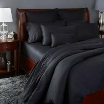 Sferra Larino Black Queen Sheet Set 4PC Soft 100% Cotton Solid Oxford Italy NEW - $385.00