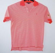 Men's Coral White Stripe Polo Shirt By Ralph Lauren Size Large Free Ship... - $13.37