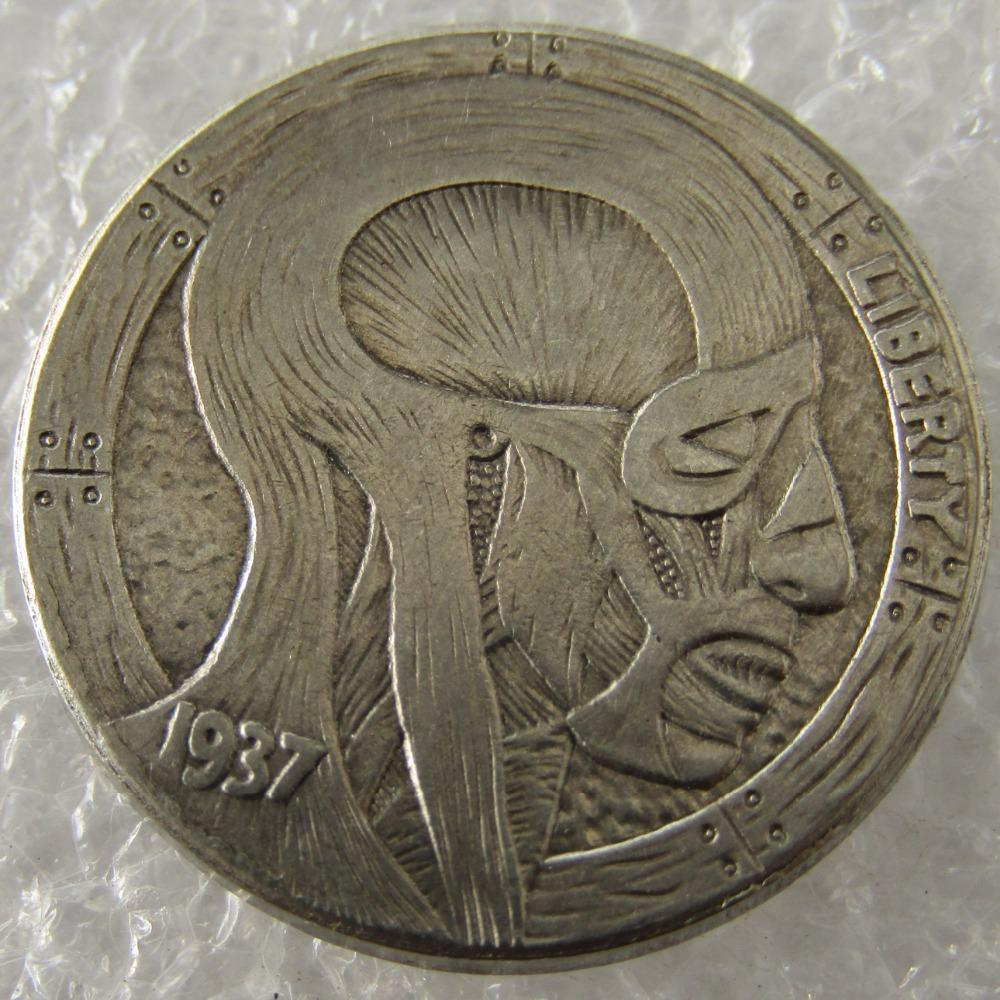 Primary image for Hobo Nickel 1937-D 3-Legged Buffalo Nickel Rare Creative Skin Beauty