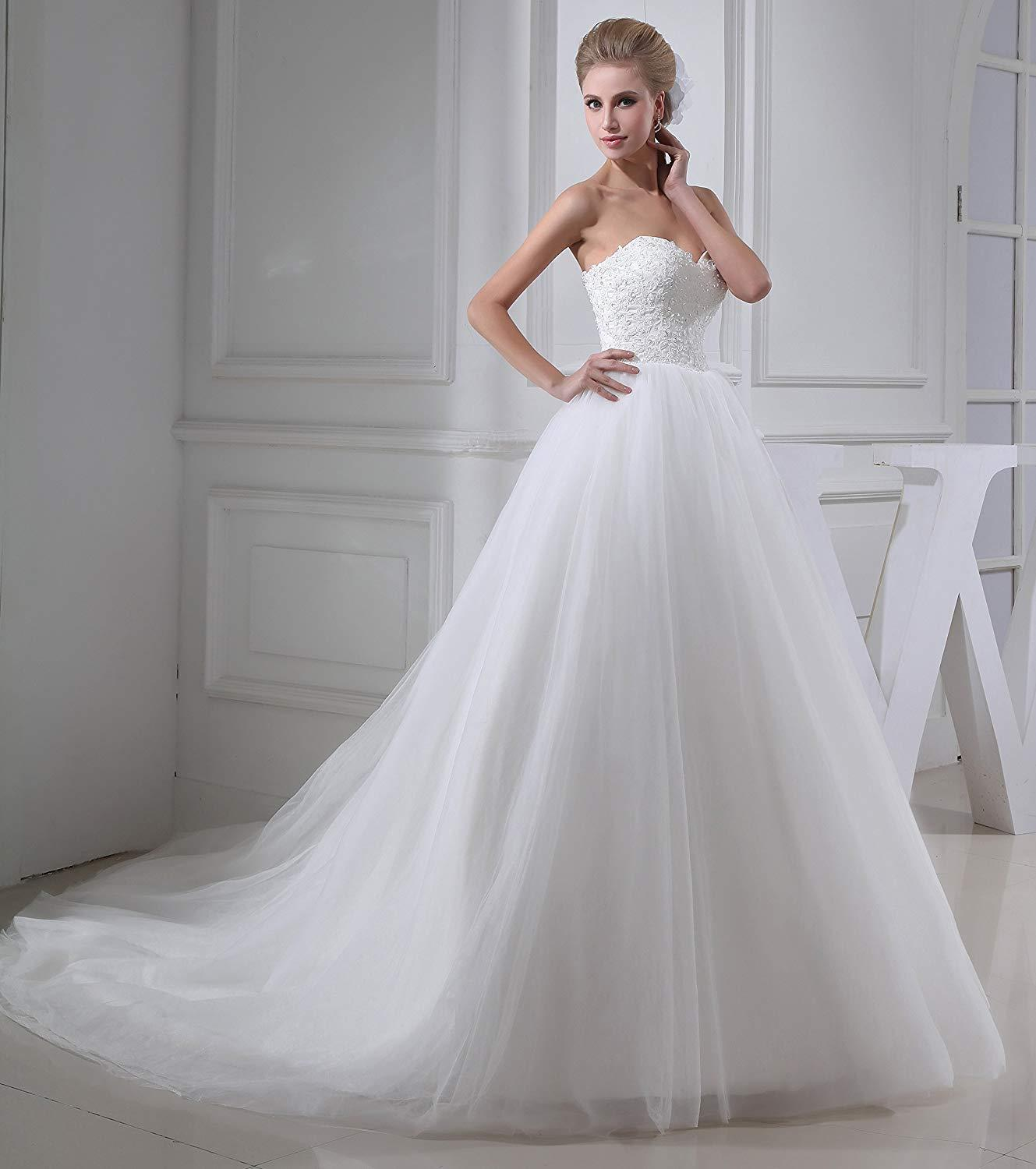 Sweetheart Lace Appliqued Beaded Tulle Wedding Dress Sleeveless Bridal Gowns
