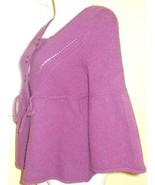 FWM Fenn Wright Manson Sz L Purple Cardigan Sweater Shrug Adorable & Snugly - $23.12